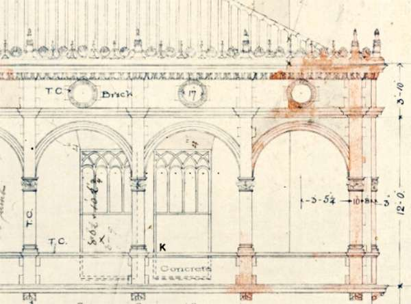 Detail of architectural drawing for Memorial Presbyterian Church, St. Augustine, Florida